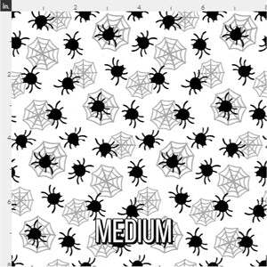Halloween Spider Fabric - Black & White