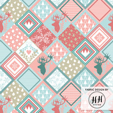 Load image into Gallery viewer, Patchwork Christmas Reindeer Fabric - Cheater Quilt