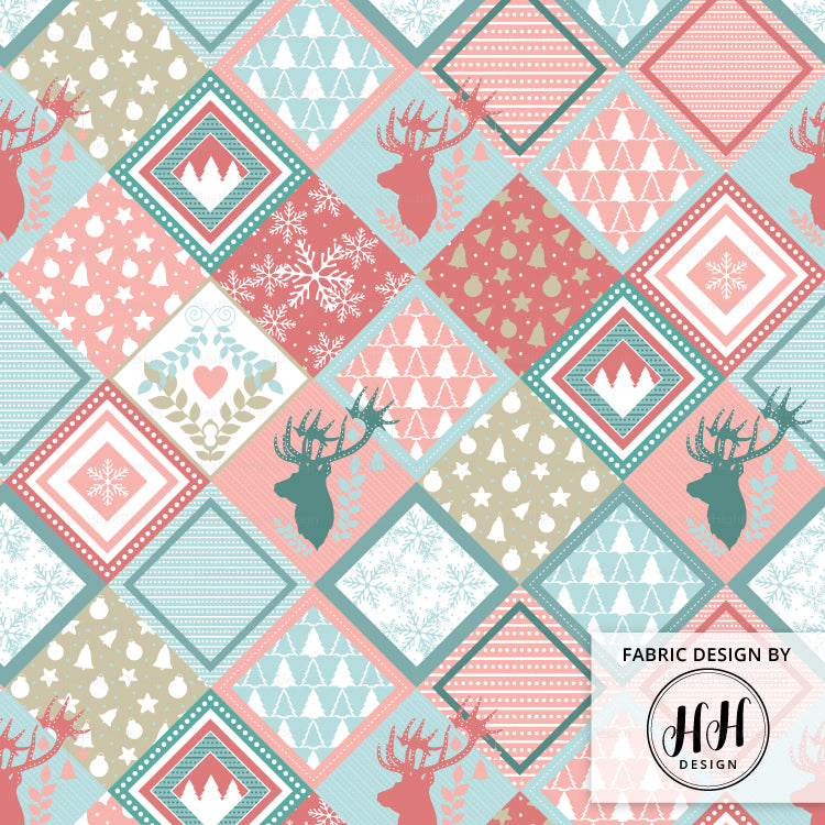 Patchwork Christmas Reindeer Fabric - Cheater Quilt