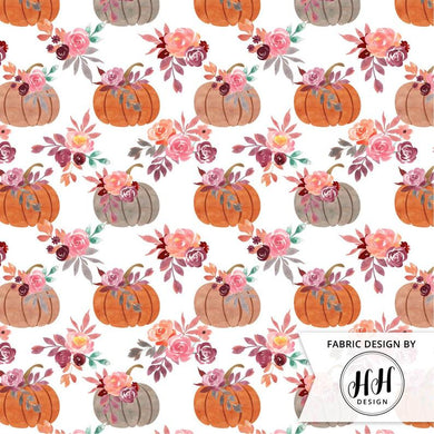 Watercolor Pumpkin Fabric - White