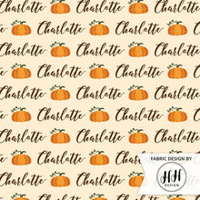 Load image into Gallery viewer, Pumpkin Personalized Fabric / Custom Name Fabric