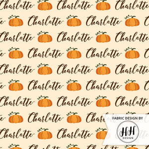 Pumpkin Personalized Fabric / Custom Name Fabric