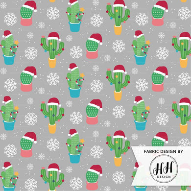 Christmas Cactus Fabric - Gray