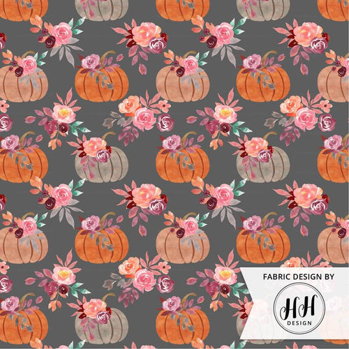 Watercolor Pumpkin Fabric - Gray