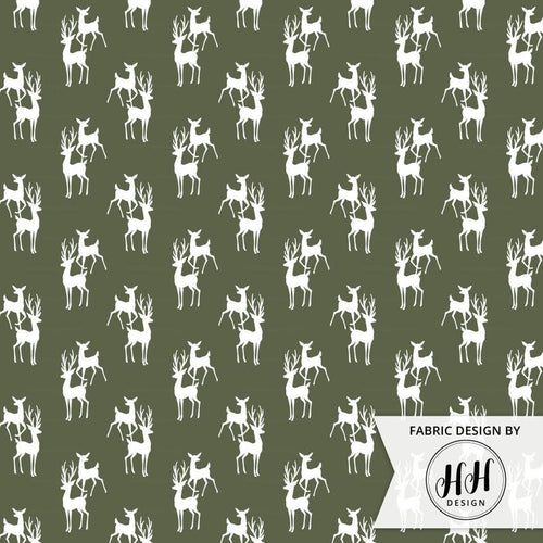 Buck and Doe Fabric - Army Forest Green