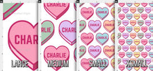 Load image into Gallery viewer, Candy Hearts Personalized Fabric - Pastel / Custom Name Fabric