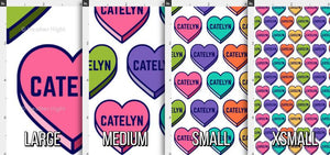 Candy Hearts Personalized Fabric - Rainbow / Custom Name Fabirc