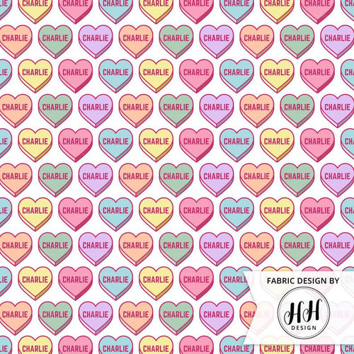 Candy Hearts Personalized Fabric - Pastel / Custom Name Fabric