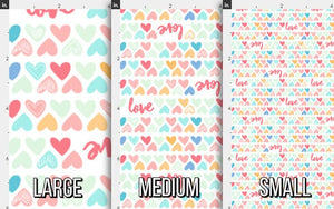 Colorful Love Hearts Fabric
