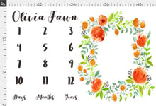 Load image into Gallery viewer, Girl Personalized Milestone Fabric - Beautiful Orange Watercolor Florals