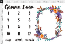 Load image into Gallery viewer, Girl Personalized Milestone Fabric - Bohemian Crystal Florals