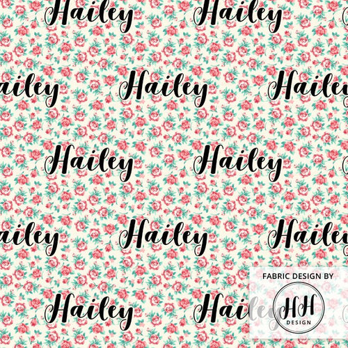 Floral Personalized Fabric / Custom Name Fabric