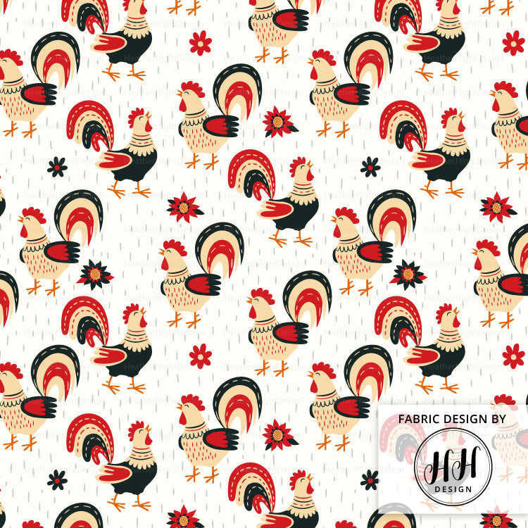 Spring Rooster Fabric