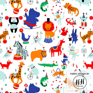 Circus Animals Alphabet Fabric