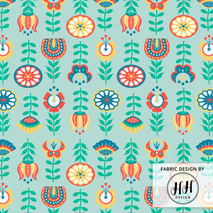 Swedish Folk Art Fabric