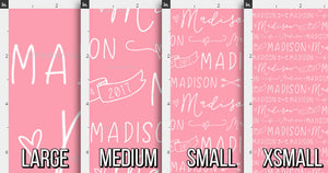 Hearts & Arrows Girls Personalized Fabric / Custom Name Fabric