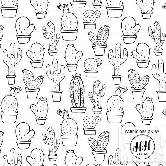 Cactus Fabric - Black & White