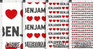 Hearts Personalized Fabric / Custom Name Fabric