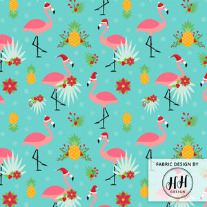 Flamingo Christmas Fabric