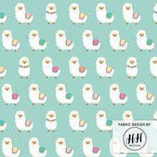 Load image into Gallery viewer, Alpaca Party Fabric - Mint Blue