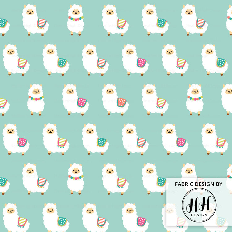 Alpaca Party Fabric - Mint Blue