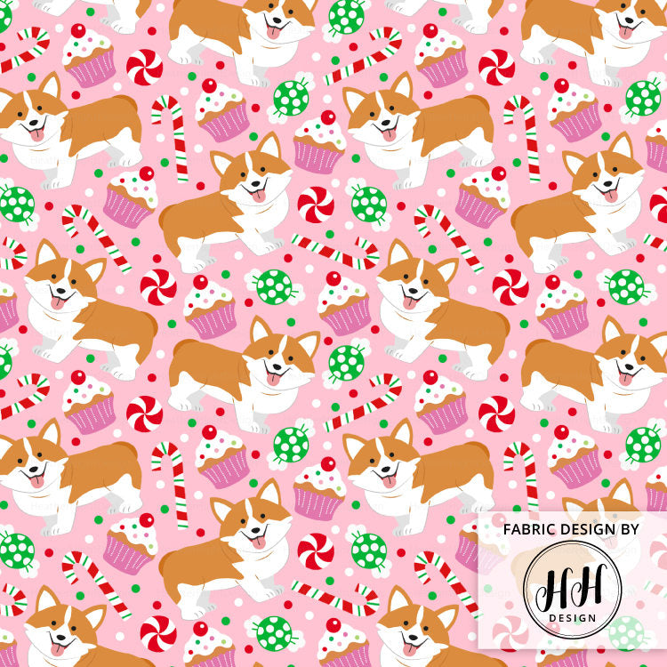 Christmas Corgi Fabric - Pink