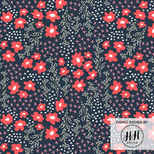 Load image into Gallery viewer, Floral Springtime Navy Fabric