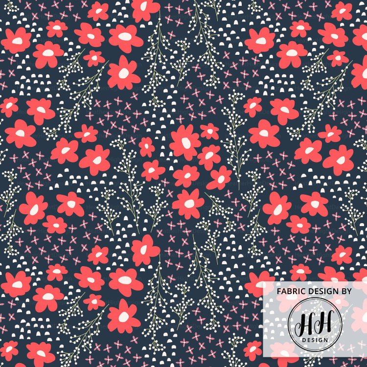 Floral Springtime Navy Fabric