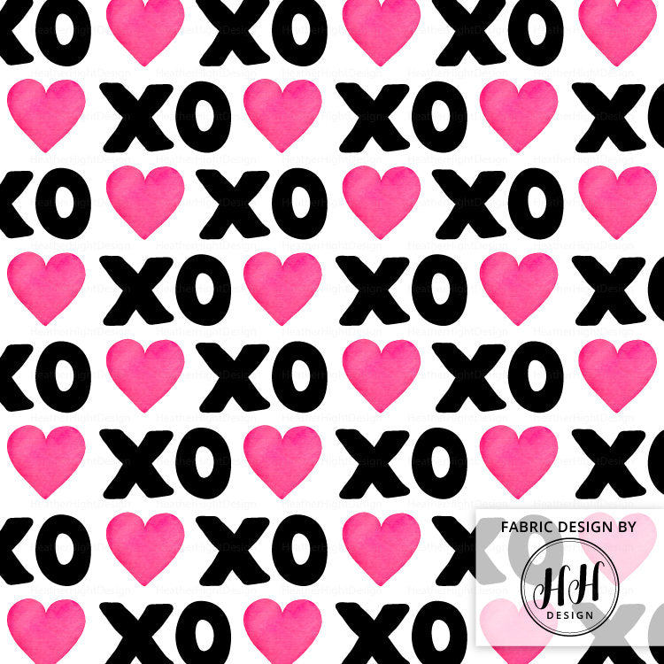 XOXO Heart Fabric - Black