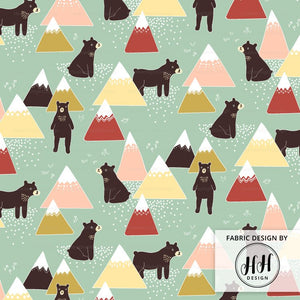 Bears and Mountains Fabric