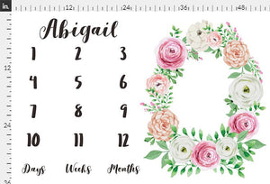 Girl Personalized Milestone Fabric - Blush Rose Watercolor Floral