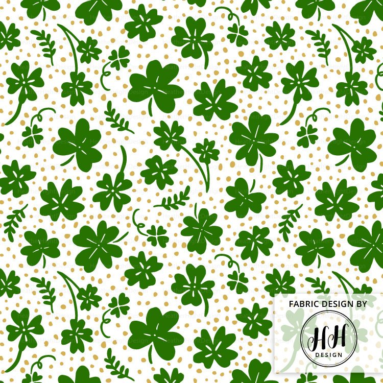 Clover Fabric - Green & Gold
