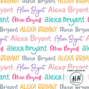 Colorful Girls Personalized Fabric / Custom Name Fabric