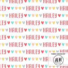 Load image into Gallery viewer, Hearts Personalized Fabric / Custom Name Fabric