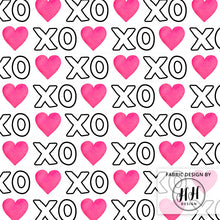 Load image into Gallery viewer, XOXO Heart Fabric - White