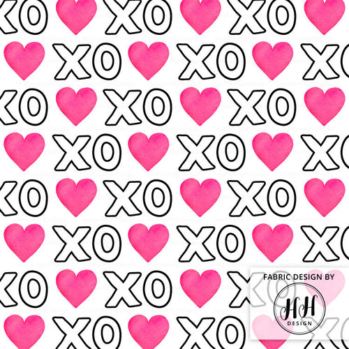 XOXO Heart Fabric - White