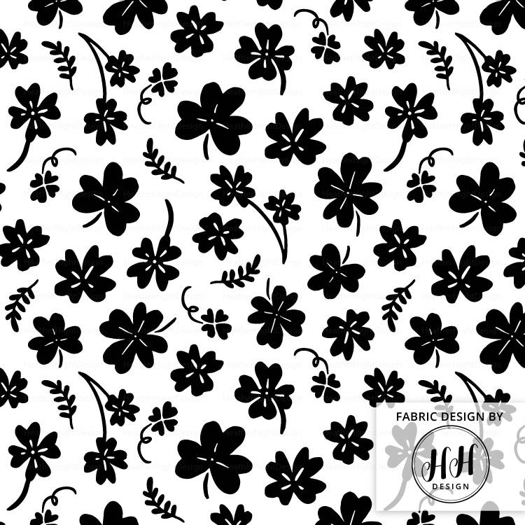 Clover Fabric - Black & White