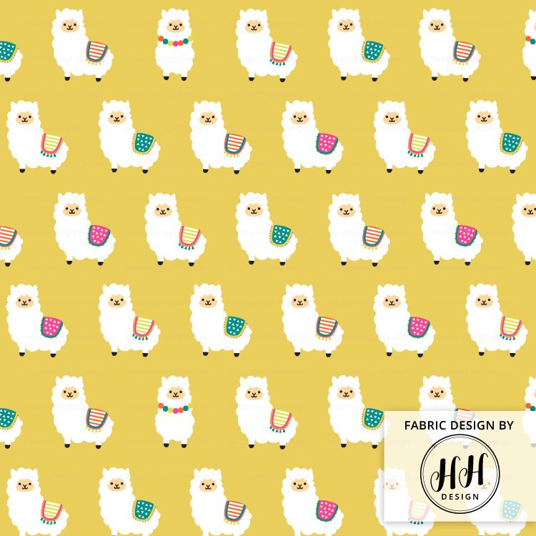 Alpaca Party Fabric - Ocre Yellow