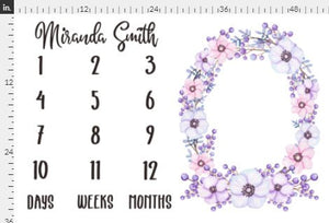 Girl Personalized Milestone Fabric - Violet Watercolor Floral