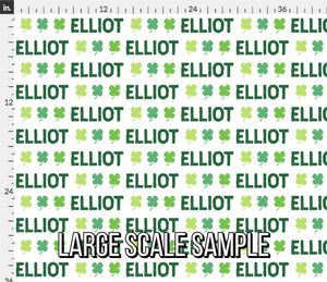 Lucky Personalized Fabric - St. Patrick's Clover / Custom Name Fabric