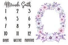 Load image into Gallery viewer, Girl Personalized Milestone Fabric - Violet Watercolor Floral