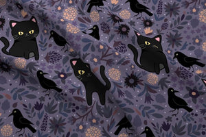 Black Cats and Ravens Fabric