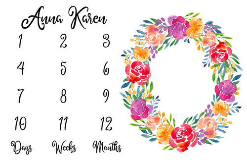 Girl Personalized Milestone Fabric - Spring Watercolor Floral