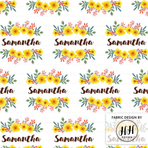Flower Girl Personalized Fabric / Custom Name Fabric