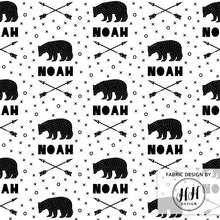 Load image into Gallery viewer, Bears & Arrows Personalized Fabric / Custom Name Fabric