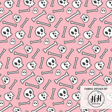 Load image into Gallery viewer, Pink Skull Fabric