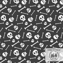 Load image into Gallery viewer, Dark Gray Skull Fabric