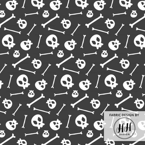 Dark Gray Skull Fabric