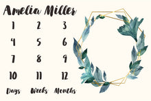 Load image into Gallery viewer, Girl Personalized Milestone Fabric - Geometric Watercolor Leaves