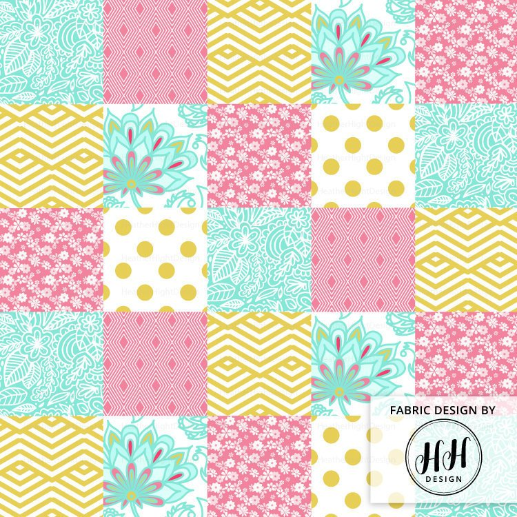 Gold Pink Floral Cheater Quilt Fabric